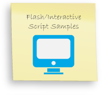 Flash Presentation, Interactive content, audio script for flash presentations, HTML5 Presentations