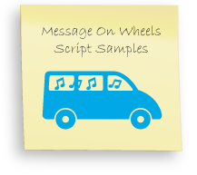 Message on wheels, transportation messages, shuttle bus messsages