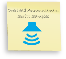Overhead Announcement Scripts, Sample PA Announcements, examples of instore messages